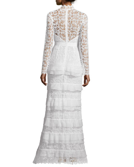 Primrose Long-Sleeve Tiered Lace Gown, White