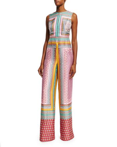 Diane von Furstenberg Jalessa Sleeveless Zen Scarf Wide-Leg Jumpsuit. Multicolor
