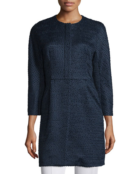 Neiman Marcus Textured Woven Button-Front Jacket