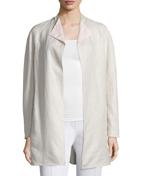 Neiman Marcus Double-Face Linen Jacket, Natural/Pink