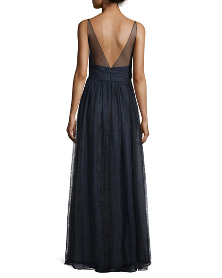 Sleeveless Illusion Evening Gown, Sapphire