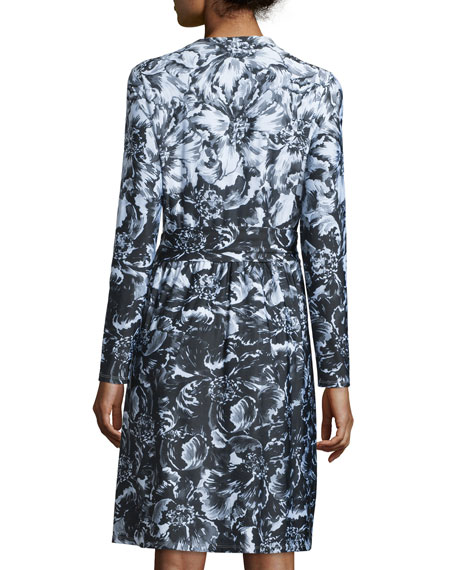 Long-Sleeve Floral-Print Jersey Dress, Black/White