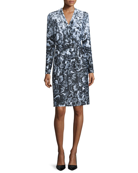 Kay Unger New York Long-Sleeve Floral-Print Jersey Dress,