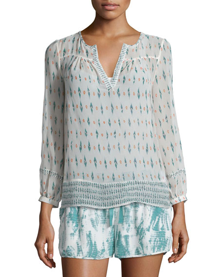 Joie Frazier E 3/4-Sleeve Printed Top, Porcelain/Blue