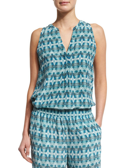 Joie Aruna Sleeveless Printed Silk Top, Haze Blue
