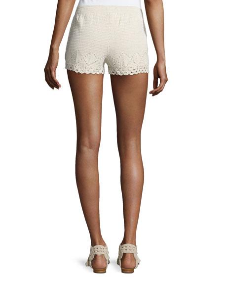 Maera B Crocheted Drawstring Shorts
