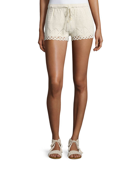 Joie Maera B Crocheted Drawstring Shorts
