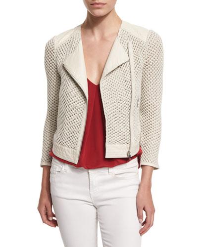 Jaelle Crocheted-Knit Asymmetrical Jacket