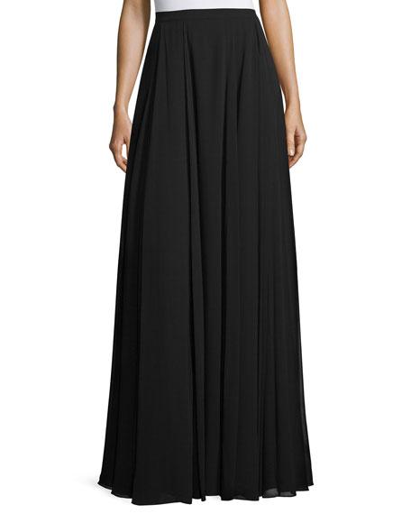 heritage pleated a line maxi skirt black