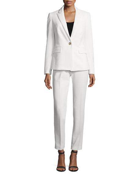 Albert Nipon Two Piece Slim Fit Pique Pant Suit Ivory