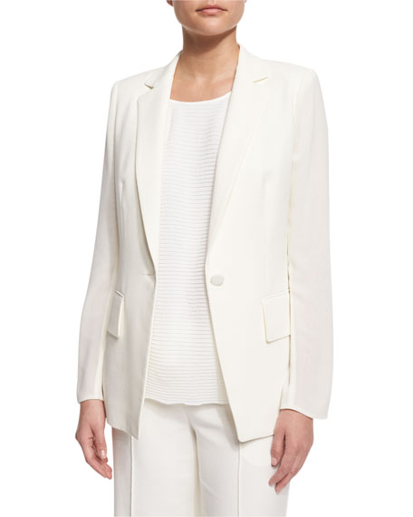 Lorelle One-Button Cotton/Silk Jacket, Cloud