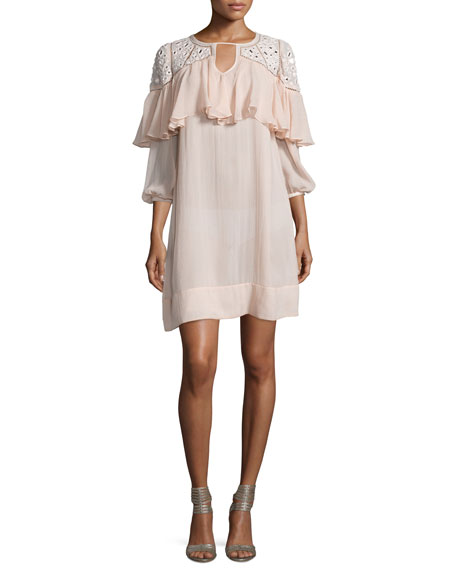 Rebecca Taylor 3/4-Sleeve Silk Ruffle-Trim Tunic, Cameo Pink
