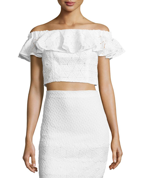 Off-the-Shoulder Lace Cropped Top, Snow