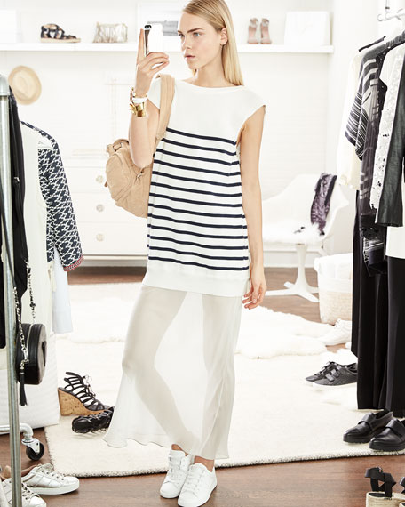 Striped Cotton/Silk Long V-Back Maxi Dress, Off White/Navy