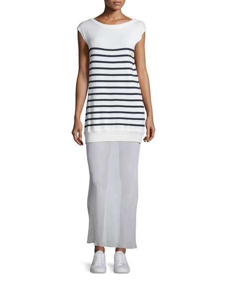 T by Alexander Wang Striped Cotton/Silk Long V-Back