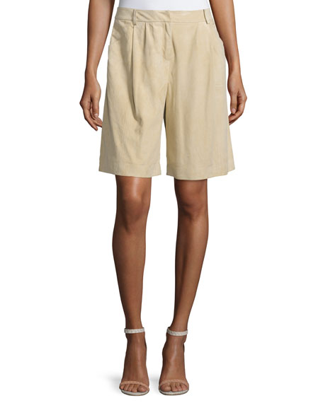 Lafayette 148 New York Clarkson Pleated-Front Shorts, Sahara