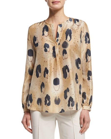 Lafayette 148 New York Libby Split-Neck Printed Blouse,