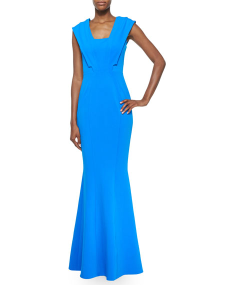 ZAC Zac Posen Emily Cap-Sleeve Mermaid Gown, Azul