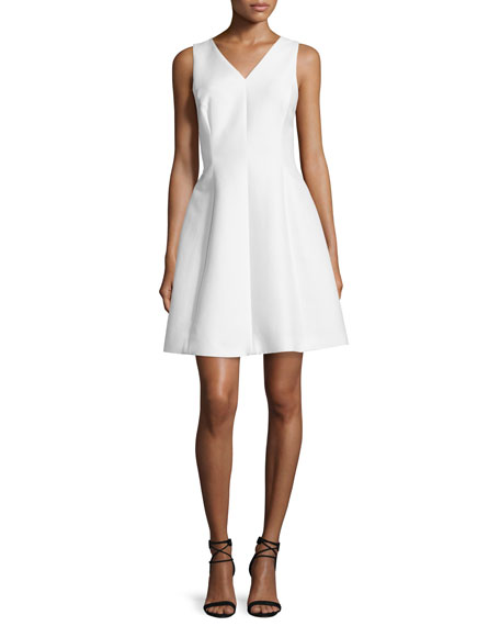 Halston Heritage Sleeveless Fit-&-Flare Dress, Bone