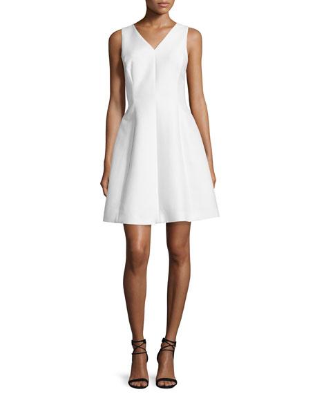 Halston Heritage Sleeveless Fit-&-Flare Dress, Bone