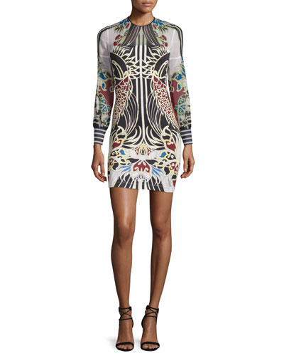 Long-Sleeve Fish-Print Jersey & Chiffon Dress