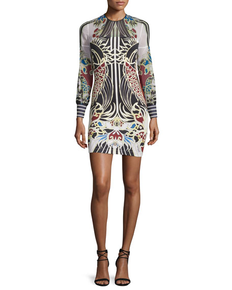 Just Cavalli Long-Sleeve Fish-Print Jersey & Chiffon Dress