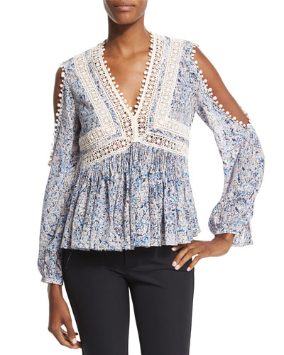 Long-Sleeve Paisley Cold-Shoulder Top, Blue/Pink