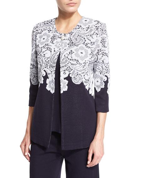 Misook 3/4-Sleeve Lace-Print Jacket, Navy/White, Petite