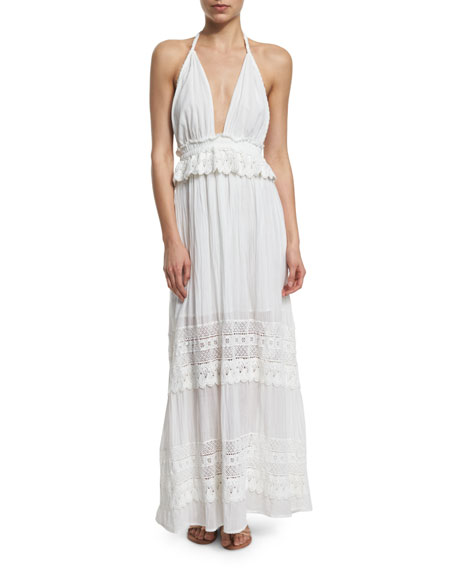 LoveShackFancy Braided Love Crocheted Maxi Halter Dress