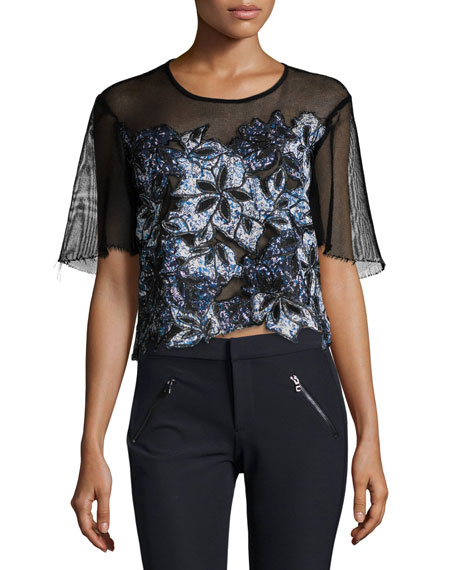 Rebecca Taylor Short-Sleeve Embroidered Mesh Top, Black
