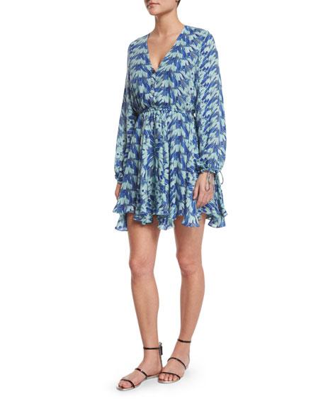 LoveShackFancy Joey Printed Long-Sleeve Silk Dress