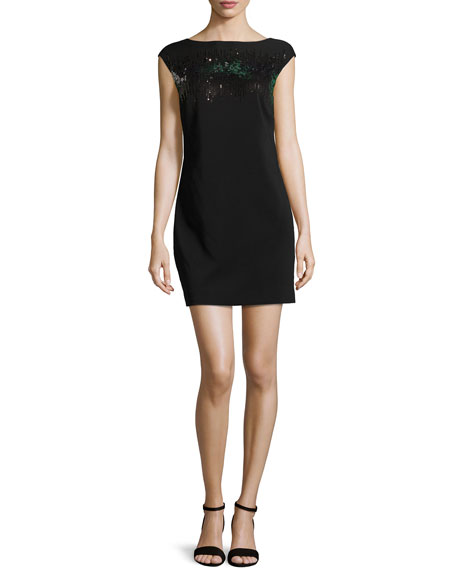 Halston Heritage Sequin Mini Dress, Black/Gunmetal
