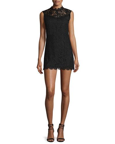 Corail Sleeveless Lace Mini Dress, Black
