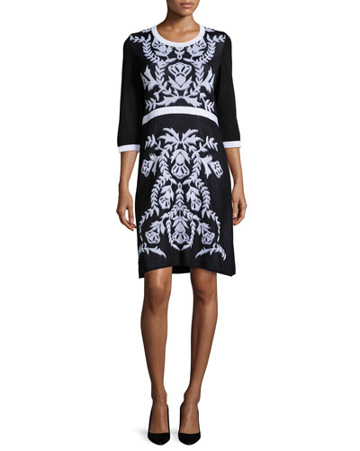3/4-Sleeve Damask-Pattern Dress, Petite