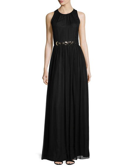 kate spade new york sleeveless embellished-waist maxi dress,