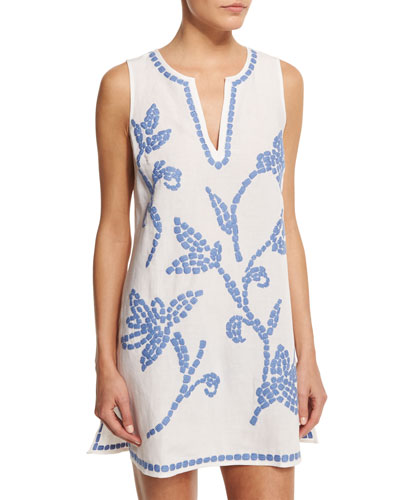 Talisay Embroidered-Floral Linen Coverup Dress