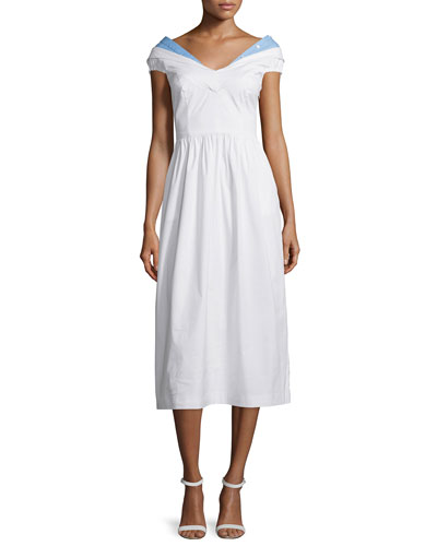 Louise Short-Sleeve Poplin Midi Dress
