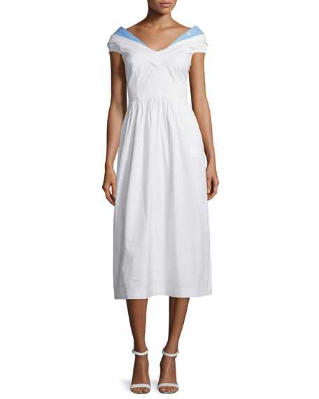 Milly Louise Short-Sleeve Poplin Midi Dress