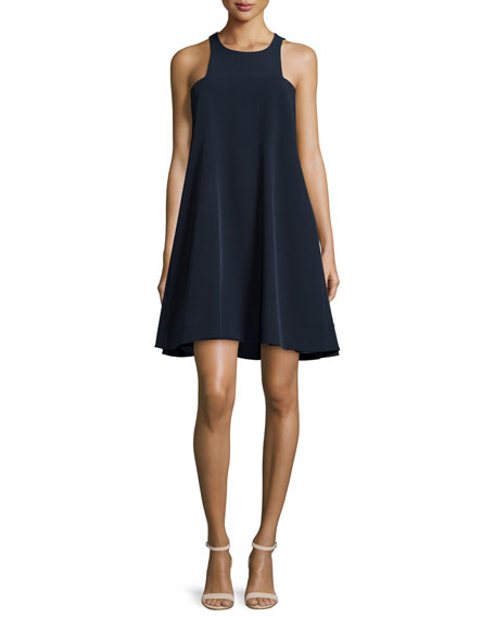 Milly Angular Sleeveless A-Line Dress, Navy