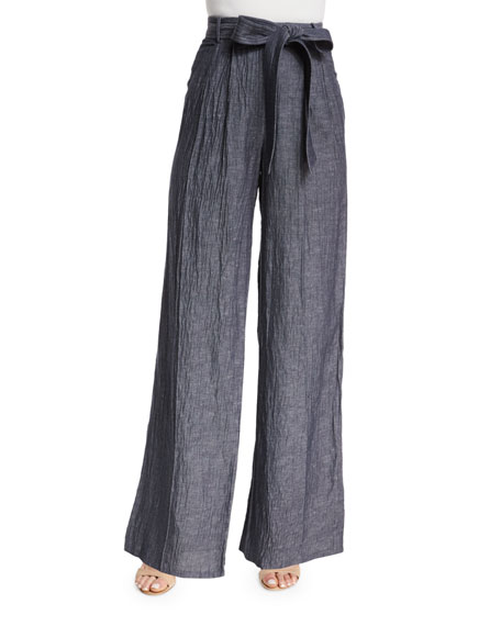Milly Denim Linen-Blend Trapunto Tie-Waist Trousers