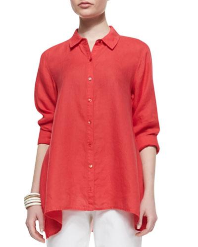 Handkerchief Linen Boxy Shirt, Petite