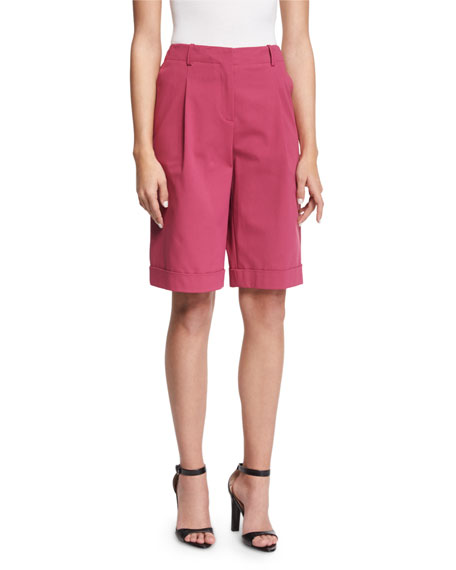 Lafayette 148 New York Rivington Pleated-Front Shorts, Sangaria