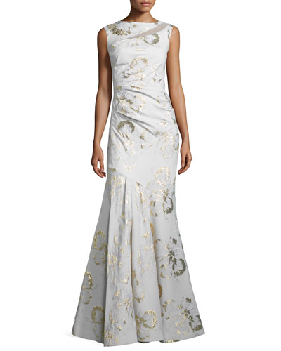 Sleeveless Metallic Jacquard Mermaid Gown