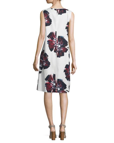 Palmer Sleeveless Brava Blooms-Print Dress, Cloud/Multi