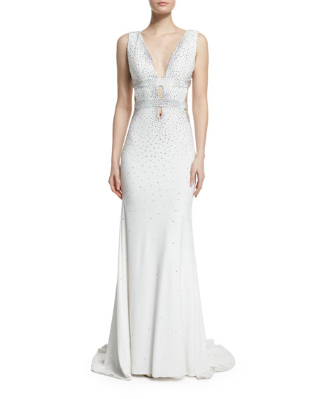 Jovani Sleeveless Open-Back Embellished Gown, Off White