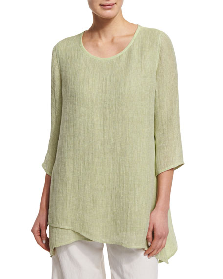 Caroline Rose 3/4-Sleeve Crinkle Gauze Tunic, Soft Lime
