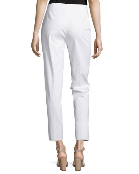 Straight-Leg Cropped Pants, White