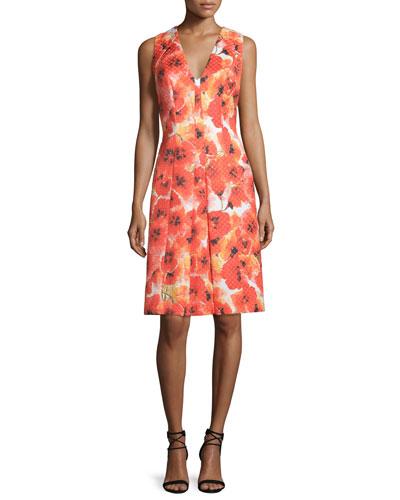 Sleeveless Floral-Print Pleated Dress