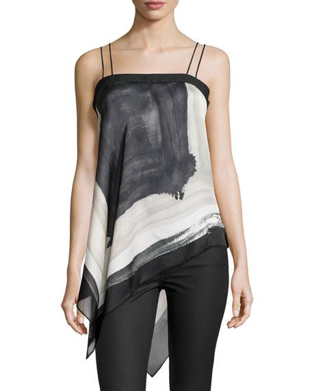 Scarf-Printed Silk Tank Top, Black