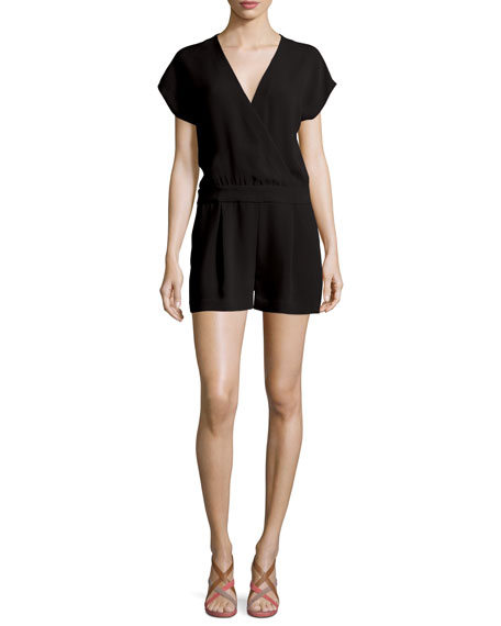Emerson Crepe Surplice Romper, Black